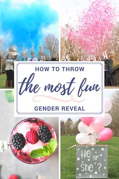 You want a FUN gender reveal, right? Check out this article for the most fun gender reveal foods, cocktails/mocktails, and ways to reveal! Sibling Gender Reveal, Gender Reveal Food, Fall Gender Reveal, Gender Reveal Balloons, Baby Shower Gender Reveal, Baby Gender, Baby Baby, Baby Shower Announcement, Gender Party