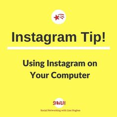 Instagram Tip: Using Instagram on Your Computer  To access your Instagram account on your computer you can go to Instagram.com Log in  with your Instagram username and password. The mobile app is my preferred method I use the website as a view-only platform. You still cant post via the web but you can now search and follow and edit your profile. Want to learn more about building your business using Instagram & Social Media? Or fancy working closely with me?  Then click on the link in my bio…