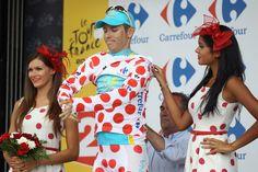 Fredrik Kessiakoff with Tour de France Podium Girls 2012