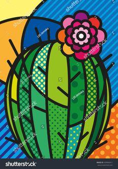 Pop Art Modern Vector Illustration Cactus for your design Cactus Vector, Cactus Drawing, Oil Pastel Paintings, Pop Art Illustration, Mini Canvas Art, Posca, Cute Drawings, Folk Art, Art Projects