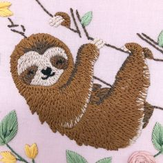 Excited to share the latest addition to my #etsy shop: Happy Sloth: Full Embroidery Kit, Cute Animal Sewing Kit. Easy Modern Design Craft Kit. Sloth with Floral Wreath Simple Embroidery, Embroidery Patterns Free, Modern Embroidery, Embroidery For Beginners, Embroidery Kits, Embroidery Stitches, Craft Kits, Craft Projects, Long And Short Stitch