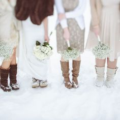 Mismatched dresses and boots are a fun idea for your outdoor winter wedding photos. Let your 'maids pick a comfy pair of footwear that expresses their style (and keep their toes warm!).