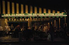 """Cafe Du Monde. Cafe Au Lait and Beignets were our """"nightcap"""" just about every night during our New Orleans honeymoon."""