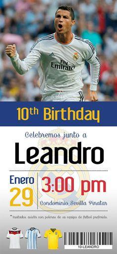 Invitación Real Madrid Soccer Birthday Parties, Soccer Party, Boy Birthday, Fiesta Real Madrid, Real Madrid Soccer, Cristiano Ronaldo, Ideas Para Fiestas, Mario Bros, Champions League