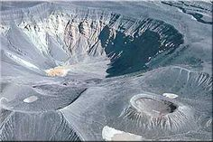 Ubehebe Crater in Death Valley National Park, California. Groundwater flashed to steam and formed the crater, the walls of which are made of Miocene sediments.
