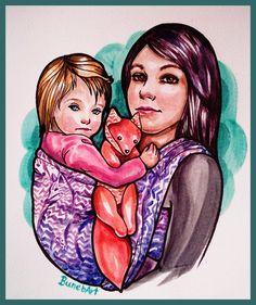 0913381deff Custom Babywearing Portrait by BUNEBArt on Etsy Babywearing