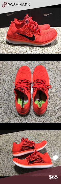 Men's Nike Free RN Flyknit Bright Crimson (Used) Gently used. Didn't even wear these 5 times, color is a little bright for my style, still in 9/10 condition the picture of the insole shows they are still in prime condition. No box. Orders Will be shipped out in 1 day from purchase. If you have any questions or need additional pictures call or text 520-262-1875. I only sell via Poshmark and I don't trade as all these items are inventory from my eBay store. Thanks for looking! Nike Shoes…