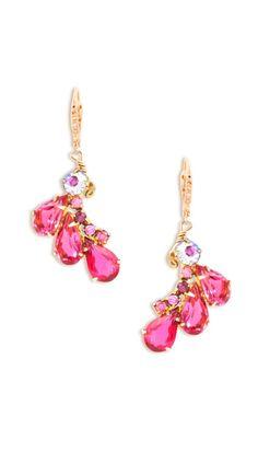 pink + diamond drop earrings ♥