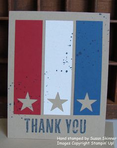 Patriotic thank you card with Dude, You're Welcome kit from Stampin' Up! red, white and blue stars More info on my blog