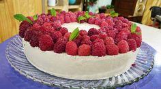 Torta de  peras y frambuesas