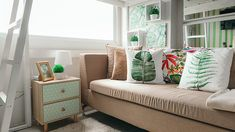 This unit proves that it's possible to live comfortably in a tiny space Condo Interior Design, Condo Design, Interior And Exterior, Small Condo, Colonial Furniture, Home And Family, Pillows, Room, Change