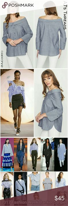 ?Coming Soon?Off the shoulder button down 2017 Fashion Weeks hottest look is banker stripes. Get this cute off the shoulder fold down collar button down shirt. Be fashion forward and make a statement with this wow peice for 2017! 100% Cotton Loveriche  Tops Button Down Shirts
