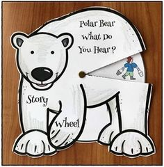 """Reading: """"Polar Bear What Do You Hear"""" storytelling wheel craft. Super fun way for practicing the """"retell"""" & """"sequence"""" a story standards."""