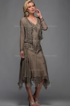 Sheath/Column V-neck Tea-length Asymmetrical Chiffon Mother Of The Bride Dress