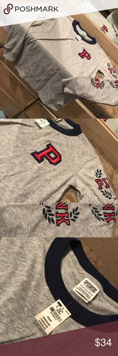 Nwt 2017 Vs Pink University Campus Tee xs ✔️Brand New With Tags. ✔️2017 Collection!! ✔️Bundle = discount ✔️Check out my closet & reviews ❕Prices very fair! Under retail & no sales tax  ⚠️Cross posted = items go fast ❌ no holds, no trades PINK Victoria's Secret Tops Tees - Long Sleeve