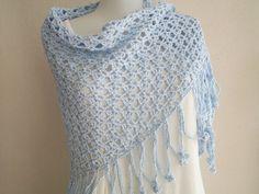 summer crochet shawl blue light blue summer shawl by nilsmake, $48.00