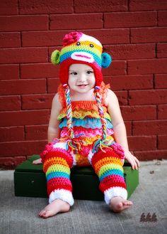 Rainbow Sock Monkey Hat Legwarmer Set Toddler Crochet Hat Newborn Photography Prop.