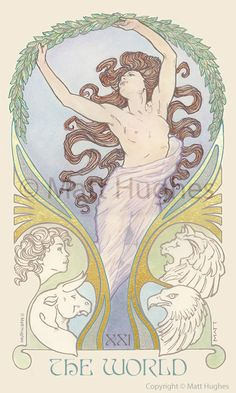 The World tarot card from the tarot deck by Art Nouveau artist Matt Hughes. The World Tarot Card, Art Nouveau, Tarot Tattoo, Le Tarot, World Mythology, Sphinx, Tarot Major Arcana, Tarot Card Decks, Hippie Art