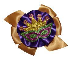 Madri Gras Bows - Girls Sparkling Madri Gras Mask Hair Bow, Alligator Clip, French Clip or Stretch Elastic Headband USA $5.99 #WebbDirect2U #TheBowRoom #HairBows #MardiGras