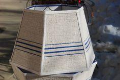 Blue Lampshade Vintage Lamp Shade Stripe Grain by lampshadelady, @ $115. Lake's Lampshades