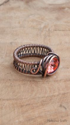 Wire wrapped rings 844424998861615517 - Wide Banded Ring Wire Wrapped with Copper with Padparadscha Colored Crystal, Size Source by Wire Jewelry Rings, Wire Jewelry Making, Metal Jewelry, Silver Jewelry, Beaded Rings, Jewellery Making, Jewlery, Jewelry Box, Für Dummies