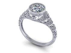 Custom Made Antique Diamond Engagement Ring 14k White Gold Round Bezel Filigree Vintage 1ct 6.5mm