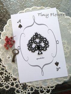 タティングレースのトランプカード |Tiny Flowers* にゃんことてしごと ~猫とタティングレース~