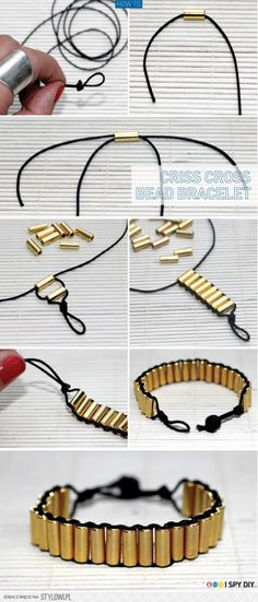 Military shell casing bracelet. You could substitute a lot of different things to make this bracelet.....