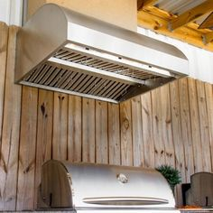 Blaze Stainless Steel Outdoor Vent Hood - 2000 CFM - available at BBQ Guys. Extra deep and high capacity design. Outdoor Kitchen Grill, Outdoor Kitchen Cabinets, Outdoor Kitchen Design, Outdoor Kitchens, Bbq Kitchen, Backyard Kitchen, Summer Kitchen, Outdoor Cooking, Kitchen Ideas