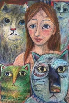 Woman with Many Cats Oil and Oil Pastel Original M Bollen Large Painting New Big | eBay