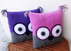 Owl Pillow Crochet Pillow Funny Pillow by CrazyButterflies on Etsy
