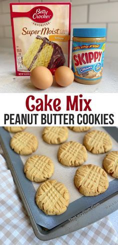 Cake Mix Desserts, Cake Mix Cookie Recipes, Yummy Cookies, Easy Desserts, Delicious Desserts, Dessert Recipes, Cake Mixes, Baking Desserts, Recipe With Cake Mix