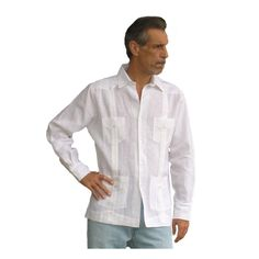 9335c115 Men linen guayabera long sleeve shirt in white, Also known as Cuban  guayabera shirt or Mexican wedding shirt. French cuff or regula. Aby's Kids