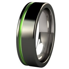 Zuzu Black Diamond Plated Colored Titanium Ring ~ Think of This one but with a blue band instead of green. I can\'t wait to wear it for the rest of my life!!