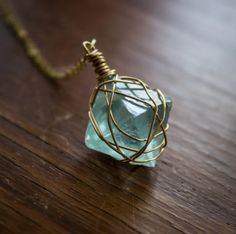 Teal/Sea Green Fluorite Octahedron with 14kt Gold by HSigneDesigns, $45.00