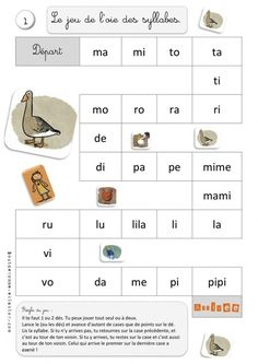Le jeu de l'oie des syllabes (Bout de Gomme) Could also use frequent sight… Teaching French, Teaching Spanish, French Worksheets, French Kids, French Education, Core French, French Classroom, French Resources, Alphabet