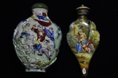 A Snuff Bottle And Enameled Perfume