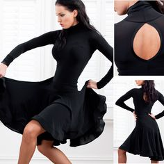Womens-HOT-Latin-Salsa-Ballroom-Dance-Dress-long-sleeve-dress