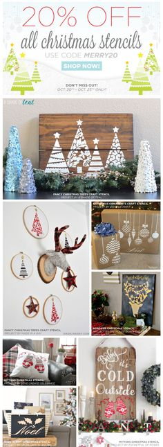 Christmas Stencil Sale! Take 20% off all Christmas Stencils using the code MERRY20. Don't miss out on the tree-mendous savings! Ends Sunday October 23rd.    Shop nowhttp://www.cuttingedgestencils.com/christmas-stencils-valentine-halloween.html