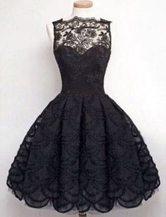 Black Lace Round Neck Sleeveless Solid Color Hollow Out Lace Dress