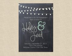 Chalkboard & Lights Engagement Invitation by papernpeonies on Etsy, $15.00