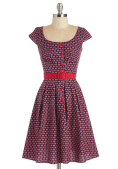 Wing Dancing Dress. The local dance studio is hosting free swing-dancing lessons, and youre ready to spin and step the night away in this printed dress! #red #modcloth
