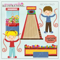 Arcade Crazy Cute Digital Clipart for Card Design, Scrapbooking, and Web Design