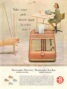 1956 Burrough's Ten Key Adding Machine Original Home and Office Print Ad