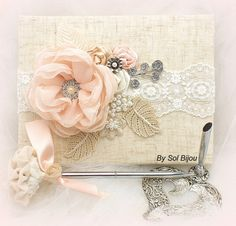 Wedding Guest Book and Pen Set Shabby Chic in Blush Pink, Ivory and Champagne with Linen and Lace