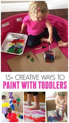Simple and creative ways to paint with toddlers and preschoolers! # indoor activities for old 15 Awesome Ways to Paint with Toddlers Activities For 1 Year Olds, Fun Activities For Toddlers, Montessori Activities, Infant Activities, Educational Activities, Parenting Toddlers, Crafts Toddlers, Sensory Play For Babies, Outdoor Toddler Activities