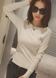 Casual Round Neck Long Sleeve Pure Color Knitwear For Women