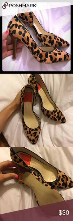 downsizing my shoe closet Super cute & comfy leopard Anne Klein heels. Made out of leather & real fur. As shown on the bottom of the heels they have only been worn a few occasions. Anne Klein Shoes Heels