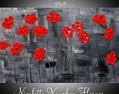 """Paisaje del aceite listo para enviar abstracta original del cuchillo de paleta de pintura al óleo empaste Red Poppies moderna 36 """"por Nicolette Vaughan Horner"""