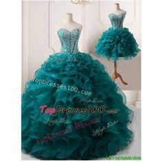 Pretty Puffy Skirt Teal Detachable Quinceanera Gown with Beading and... ($300) ❤ liked on Polyvore featuring dresses, gowns, teal blue dresses, blue quinceanera dresses, teal gown, teal quinceanera dresses and blue dress